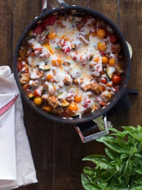 Easy way to use up that bursting garden, a cheesy garden skillet! Plus it can be made with turkey meatballs, #vegetarian for #meatlessmonday or #vegan! ohsweetbasil.com-4
