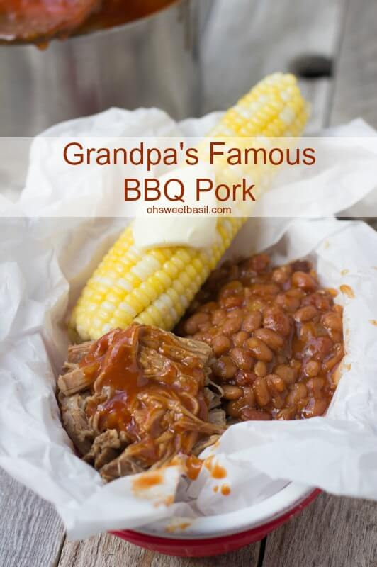 Grandpa's Old Fashioned BBQ pulled pork ohsweetbasil.com