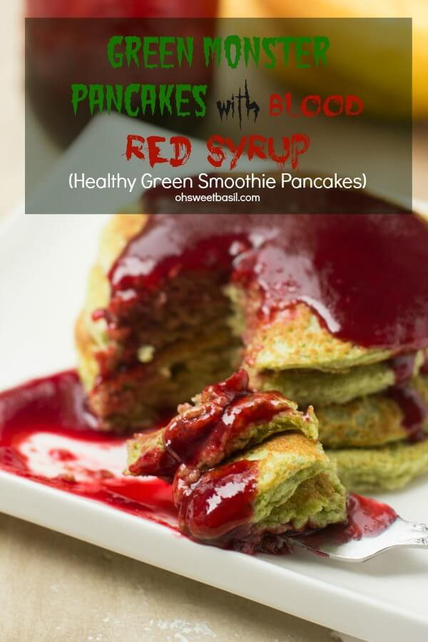 Approaching Halloween and I've been serving up these delicious (and secretely healthy) green monster pancakes that the kids love! ohsweetbasil.com