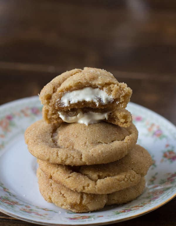 Snickerdoodles were my favorite as a kid, but Then these browned butter snickerdoodles stuffed with white chocolate, BEST. COOKIE. EVER!!!!! ohsweetbasil.com-2