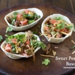 Sweet Pork Taco Bowls made with old el paso sauce, brown sugar and root beer. Your kids will be begging for more! ohsweetbasil.com