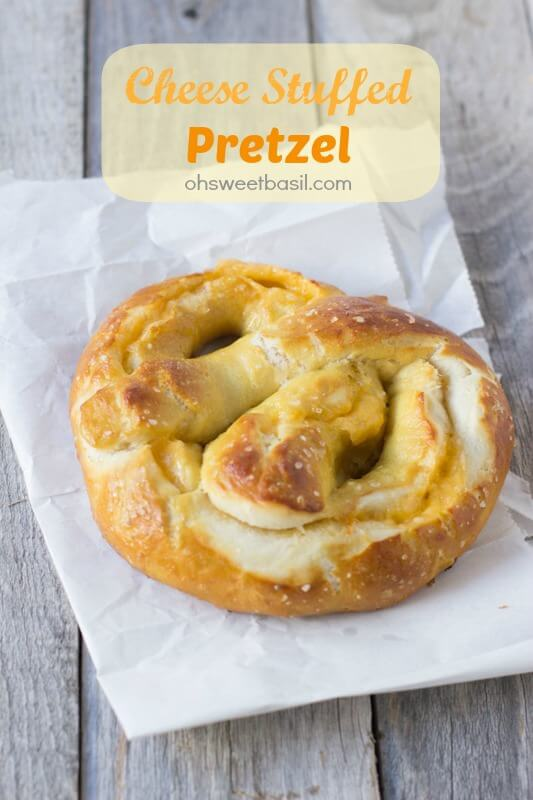 The best soft pretzel recipe and it happens to be stuffed with cheese! ohsweetbasil.com