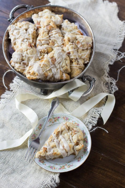 brown butter glazed apple pie scones ohsweetbasil.com