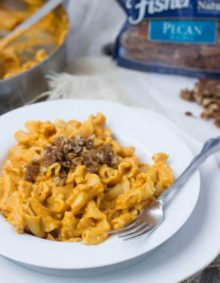 Creamy Pumpkin Pasta sauce with crunchy brown bugar pecans. You have to try to truly understand just how fantastic this pasta dish is! #fishernuts ohsweetbasil.com
