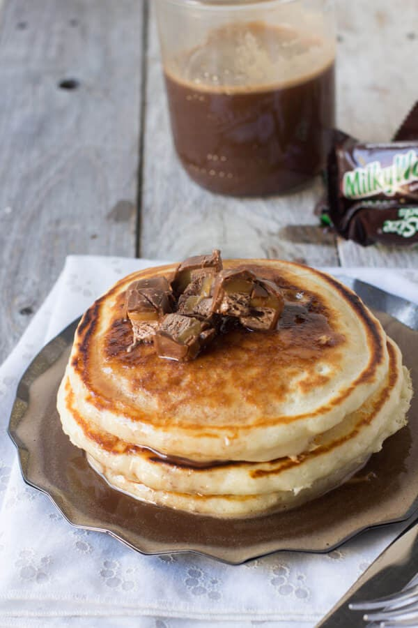 Use leftover candy in milky way syrup on pancakes #breakfast ohsweetbasil.com