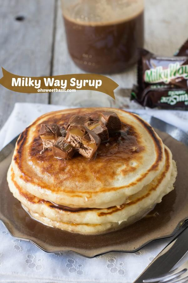 Use leftover candy in milky way syrup over fluffy pancakes #breakfast ohsweetbasil.com-5