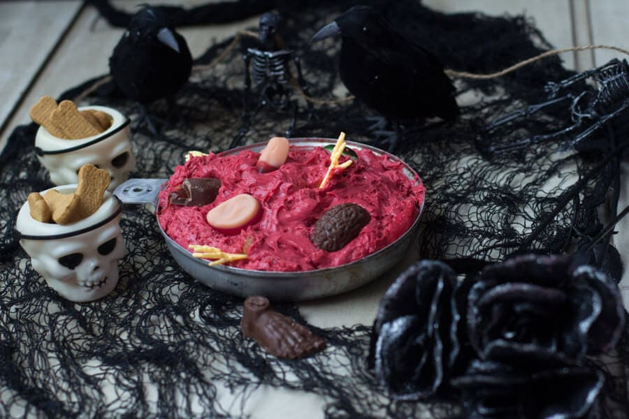 Zombie dip or red velvet cookie dip with actual chocolate chip cookies and red velvet cake mix! #halloween ohsweetbasil.com