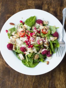 I almost like the leftovers from #Thanksgiving even better than the actual meal. This salad uses up a ton of leftovers plus a creamy spiced orange dressing ohsweetbasil.com-2