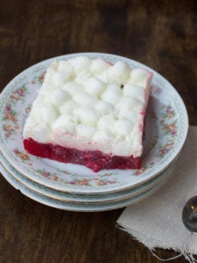 I know, it's jello. But trust me on this one, the kids love having a marshmallow salad at #thanksgiving dinner and you'll be surprised that the adults do too! ohsweetbasil.com-2