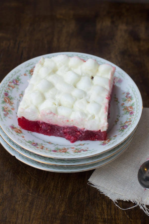 I know, it's jello. But trust me on this one, the kids love having a raspberry marshmallow jello salad at #thanksgiving dinner and you'll be surprised that the adults do too! ohsweetbasil.com