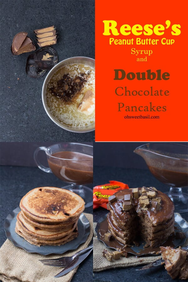 Everyone needs a fun, over the top breakfast for the holidays no matter how old you are. Reese's Syrup and Double Chocolate Pancakes. This #reeses syrup is absolute perfection! ohsweetbasil.com