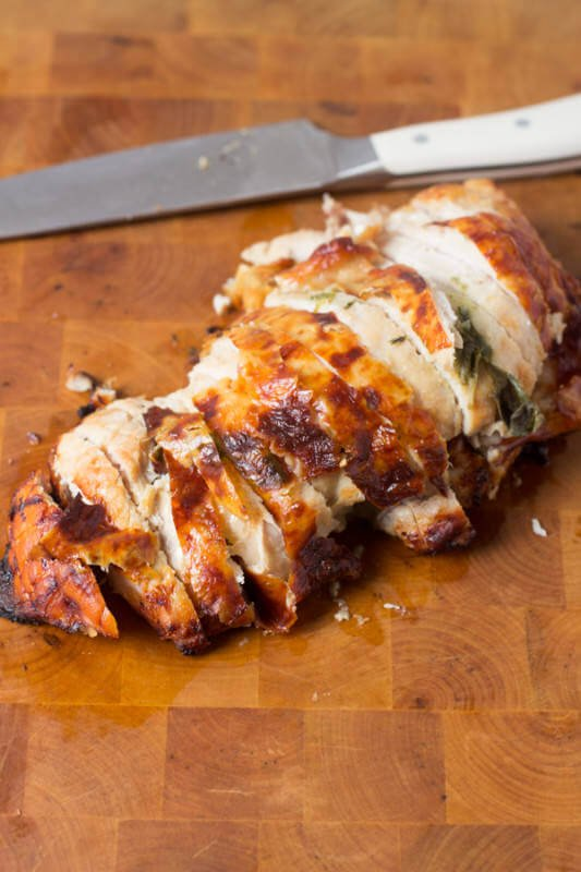 Herb Sage Roasted Turkey Breast is way easier than cooking the whole bird and still just as juicy and delicious ohsweetbasil.com