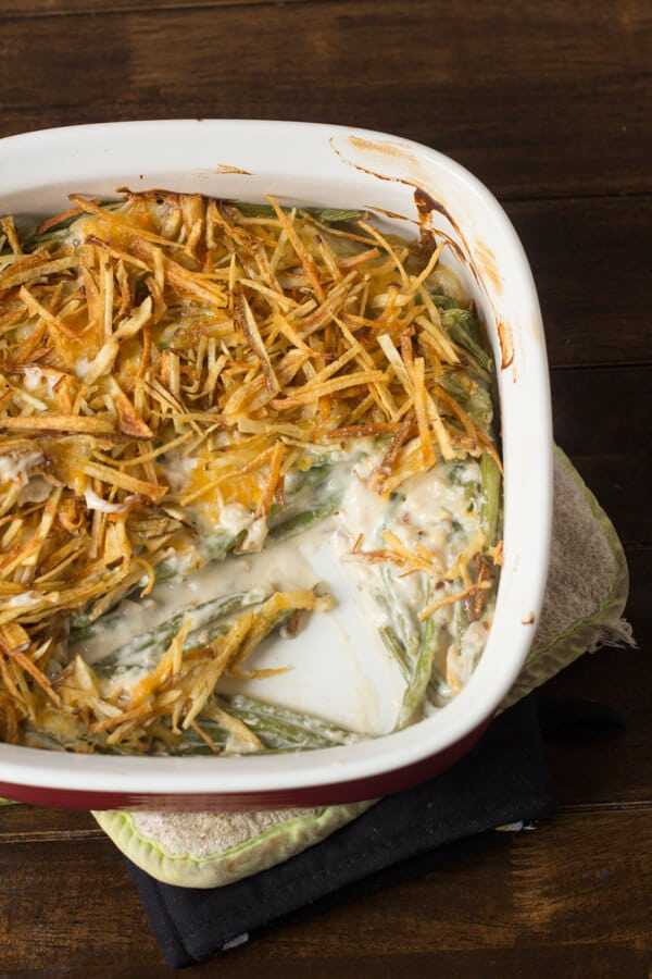 The realgreen bean casserole doesn't use cream of anything soup and the fried shoestring potatoes may be a new twist but it's a good one!