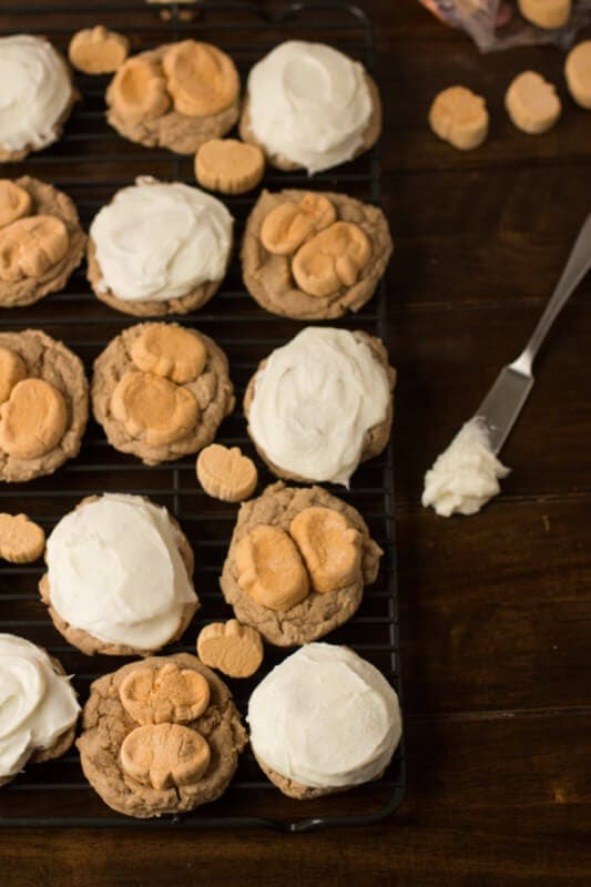 These are going to be your new favorite holiday cookie!! Pumpkin Spice Marshmallow cookies with only 4 ingredients and a cream cheese frosting! ohsweetbasil.com