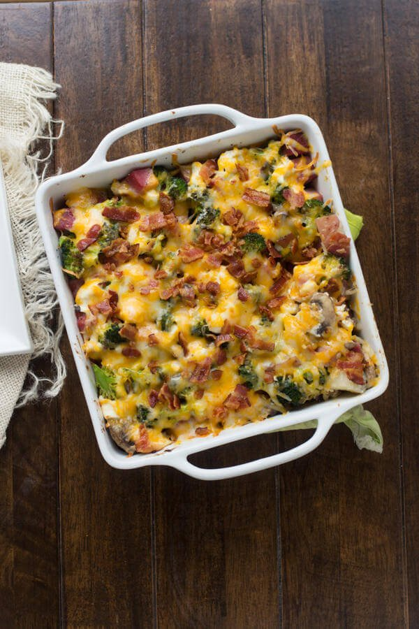 Leftover Christmas Ham- This hame bake is just as delicious as the big Holiday dinner loaded with broccoli, potatoes, cheese and bacon! ohsweetbasil.com-2