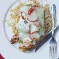 #Skinny Pesto #Chicken that only takes 14 minutes. Quick, easy, #healthy and delicious. We serve ours over brown rice with veggies. ohsweetbasil.com-3