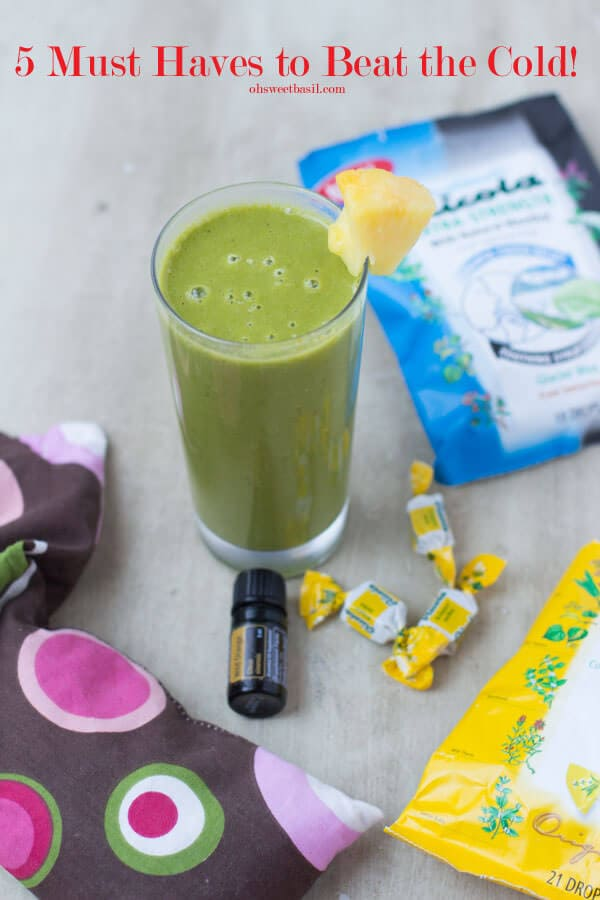 You don't have to pass a cold around all winter. last year we cracked down and found 5 must haves to kick the cold like this cold buster green smoothie