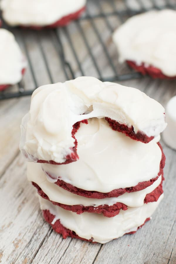 Holy. Delicious. Cookies. Red Velvet Marshmallow cookies with cream cheese frosting. ohsweetbasil.com-6