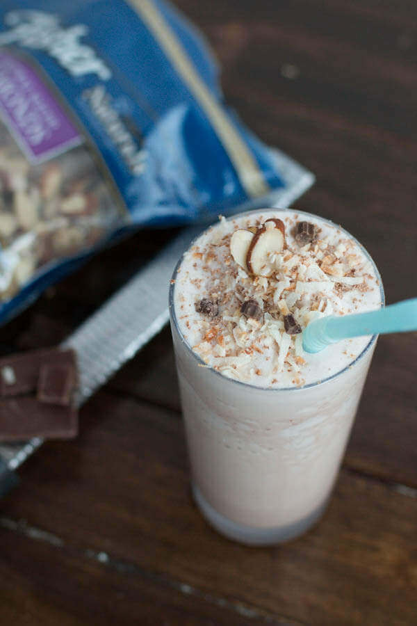 One of your biggest mistakes to get in shape is skipping on protein. You'll lose the fat and tone up quicker! Try this almond joy protein shake! ohsweetbasil.com-3