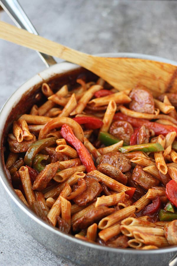 Skillet Peppers and Italian Sausage with Penne