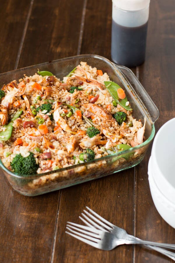 Teriyaki chicken casserole in glass baking dish