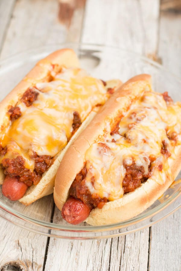 chili dogs; filling, easy to make and everyone loves them on game day!  #superbowl ohsweetbasil.com-4