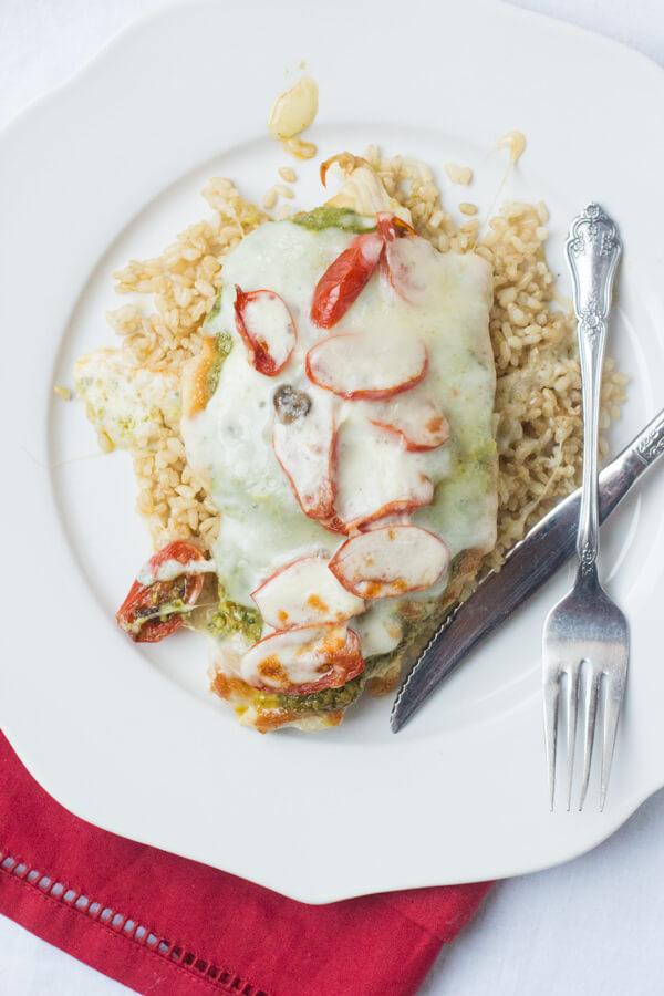 skinny chicken pesto, grape tomatoes, mozzarella