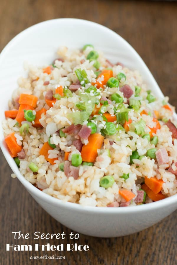 the secret to ham fried rice!! ohsweetbasil.com