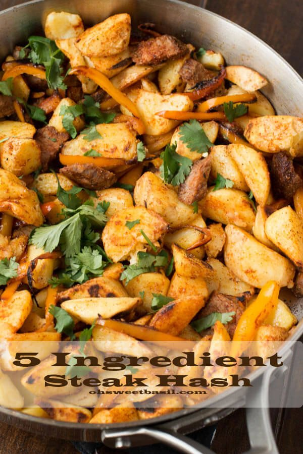 5 ingredient steak hash for an easy and healthier dinner tonight! (plus the husband had 4 bowls of it so it's clearly husband approved) ohsweetbasil.com french fries, onions, steak, bell peppers