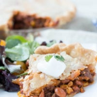 How to make taco pot pie with simple ingredients and hardly any time in the kitchen. ohsweetbasil.com-8