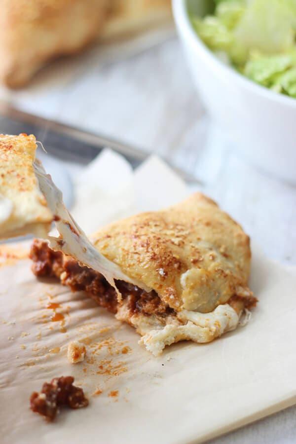 Cheesy Lasagna Calzones with ground sirloin