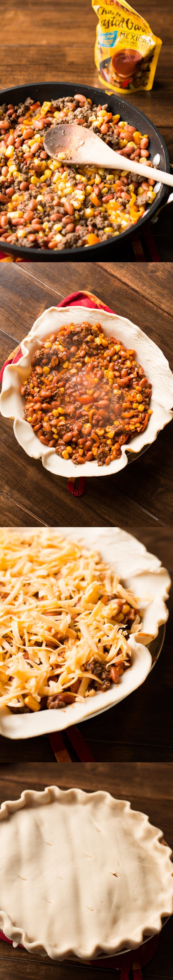 How to make taco pot pie with simple ingredients and hardly any time in the kitchen. ohsweetbasil.com-8 ground beef, pinto beans