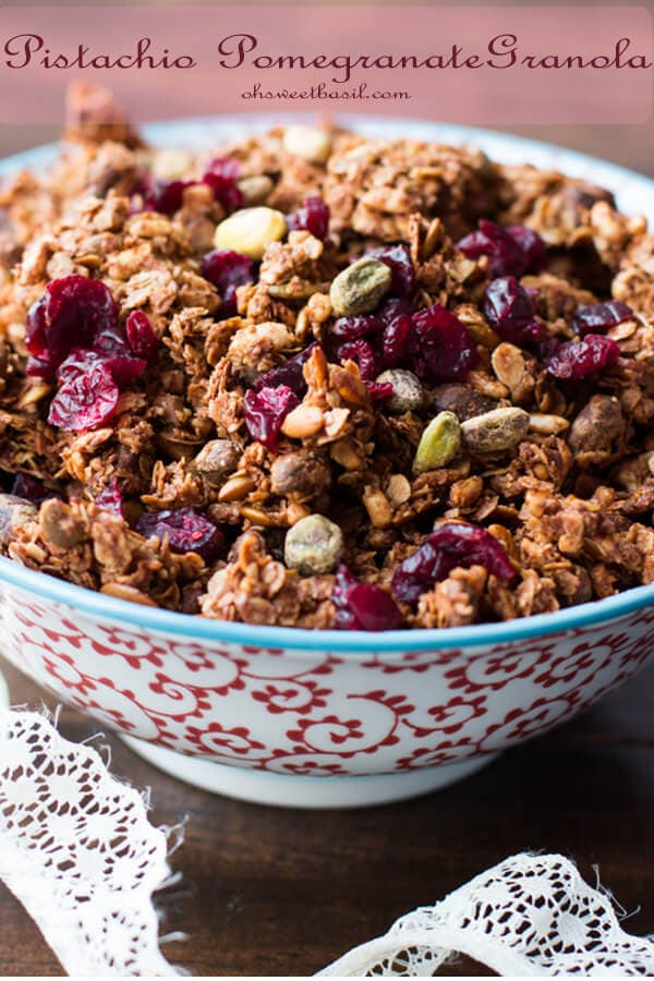 Our new favorite granola! Pistachio pomegranate granola is so easy to make and I've been loving it as a mid day snack! ohsweetbasil.com