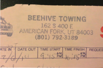 Beehive Towing Scam
