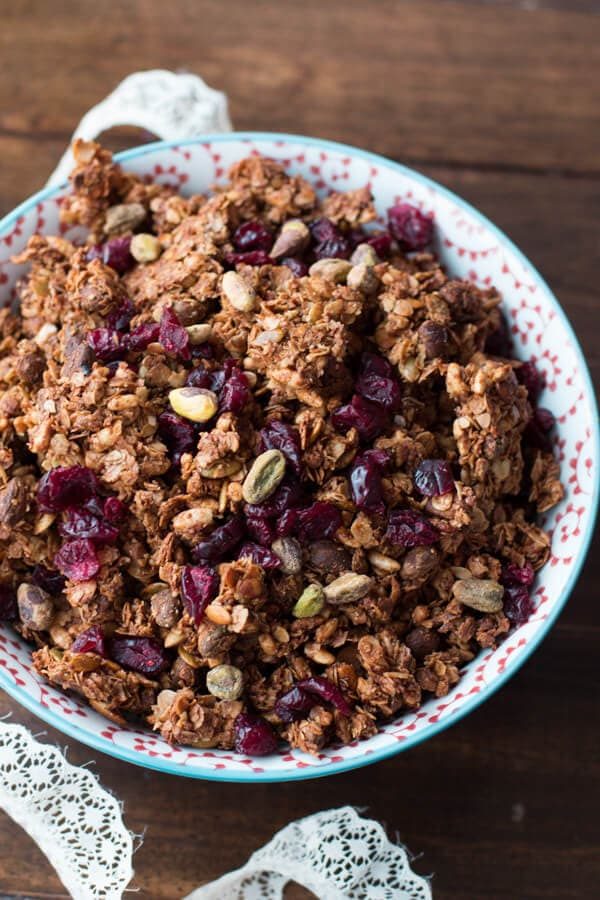 this pistachio pomegranate granola turned out so awesome! New favorite! ohsweetbasil.com