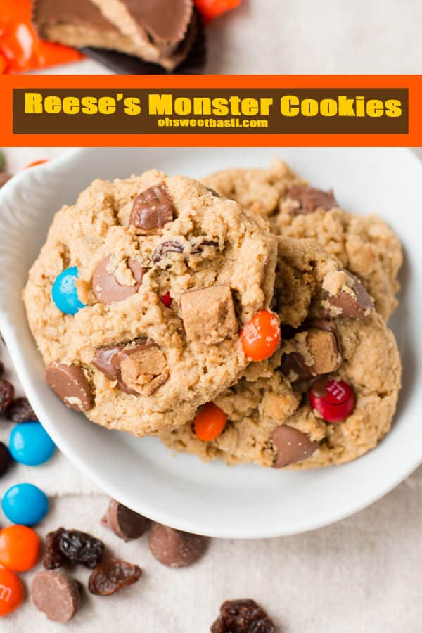 reese's monster cookies because the kids made me do it and now I can't stop eating them! ohsweetbasil.com
