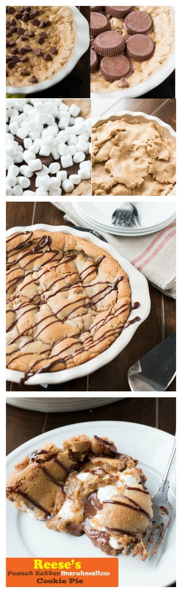 this turned out awesome!! Reese's peanut butter marshmallow cookie pie! #recipe #cookiepie ohsweetbasil.com