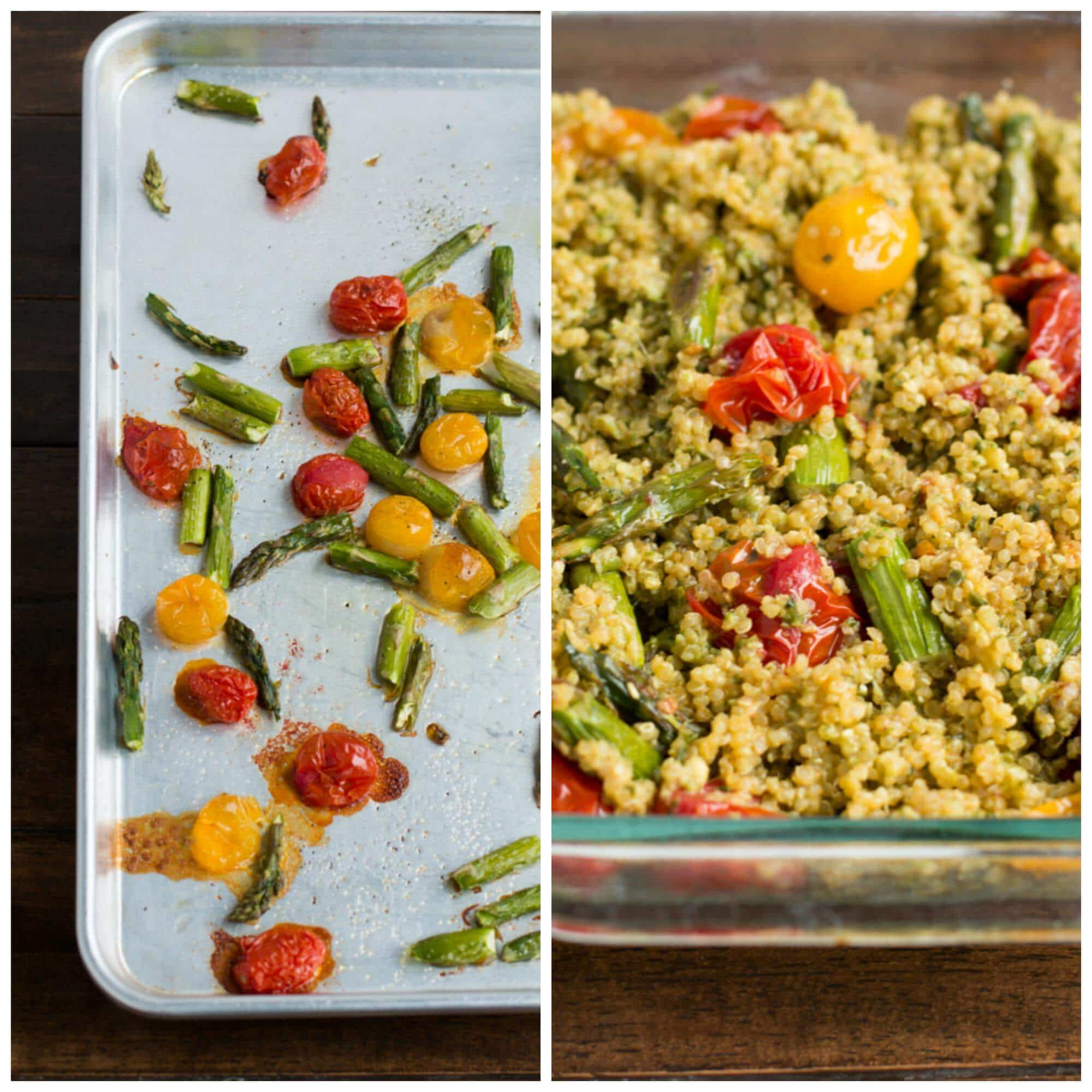 This easy pesto asparagus quinoa recipe is one of our favorite dinners and takes hardly any work on your part, which is pretty much awesome. We cannot stop making this! Pesto with roasted asparagus, tomatoes and quinoa all baked with mozzarella cheese on top! ohsweetbasil.com vegetarian, meatless monday