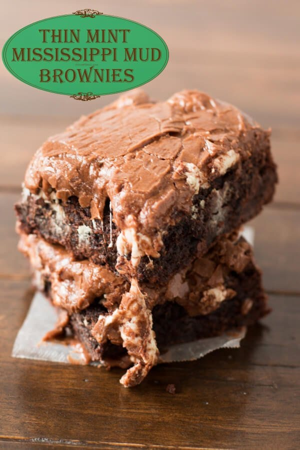 thin mint mississippi mud brownies, taking that favorite girl scout cookie flavor to a whole new level!! ohsweetbasil.com