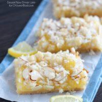 Lemon Curd Bars with slivered almonds