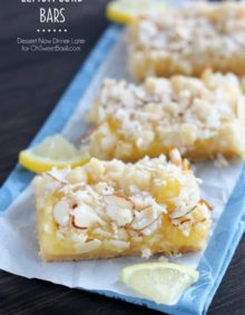 Lemon Curd Bars with slivered almonds