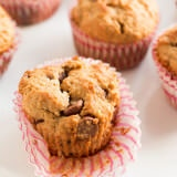 whole wheat biscoff banana muffins with chocolate chips! Our favorite muffin! ohsweetbasil.com