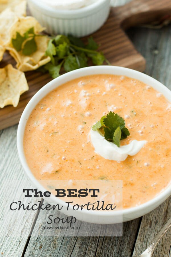 Cheesy chicken tortilla soup. It's like your favorite corn chowder, cheesy soup and tortilla soup all in one! ohsweetbasil.com