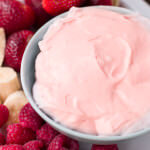 strawberry fluff fruit dip is literally heaven for fruit. ohsweetbasil.com