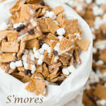 Golden grahams, chocolate and mini marshmallows to make the best s'mores munchies mix I've ever eaten!! And the kids love it too!