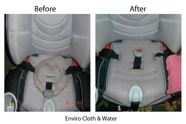 Car Seat Stained - Used Wet Enviro (Before & After) by Dawn Raiber w Text (2) Norwex giveaway