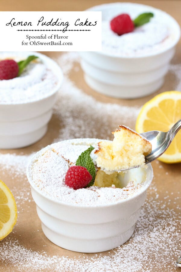 Lemon Pudding Cakes - lemon flavor baked into a light and delicate treat! summer dessert