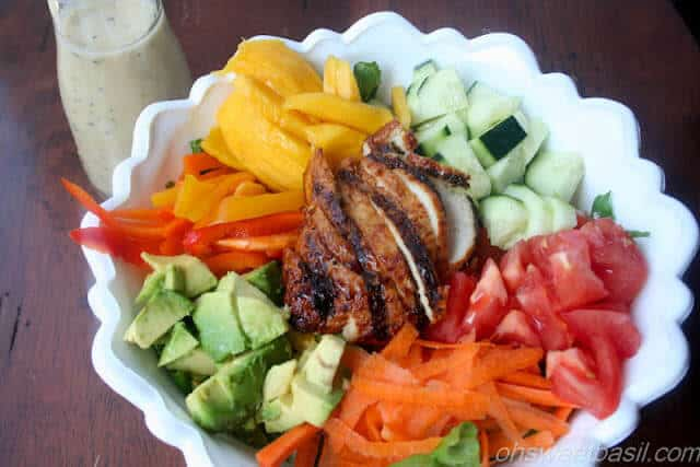Mango and Teriyaki Chicken Salad with Ginger Poppyseed dressing-3