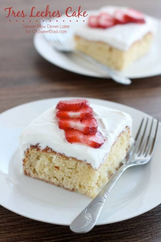 Tres Leches Cake ohsweetbasil.com