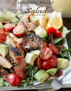 I know, another salad, but holy deliciousness I insist you try it. Marinated steak and chicken, bacon, avocados, tomatoes and the best cilantro dressing ever! ohsweetbasil.com